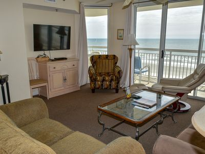 Photo for $300 OFF JUNE 8 WEEK!  4 Bedrm. 3 Baths. Ocean Front condo. 5th Floor. South Tower. Elevator. Bed size: 2 King, 3 Queens. Sleeps 10. WIFI. 4 Tv's Ocean Front pool. Non-Smoking