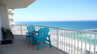 Terrace view looking East toward Fort Walton/Destin, which are ~15 miles east
