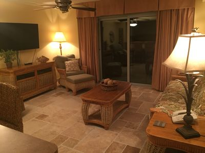"""Living Rm with new Stone Floors and 55"""" LED TV, DVD, Crown Molding, Recliner"""