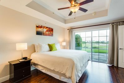 1 King Bed in the Bedroom with Queen Pull out sleeper sofa in the living room