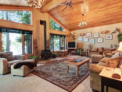 Photo for Lakefront cabin w/private dock, fire pit & gas fireplace - wonderful views