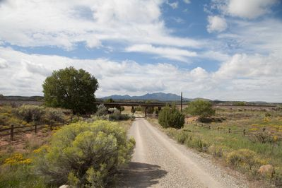 Entry road to the Crossed Sabers Ranch under the Santa Fe railroad!