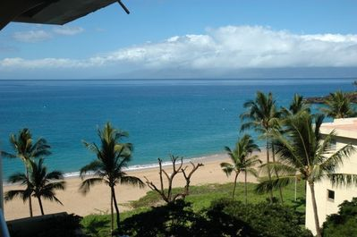 Ocean view from lanai and Molokai behind the clouds