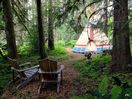 Calapooya Tipi ∆ one of the 5 forest tipis nestled in a cedar grove