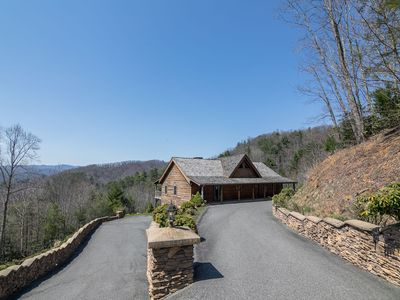 Photo for Mountain Getaway - Custom Log Home in Blowing Rock with great Views, ping pong table!