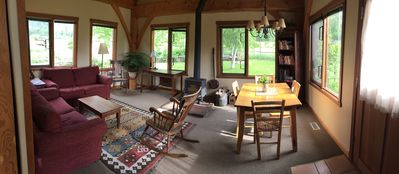 Living/ dining area with wood stove