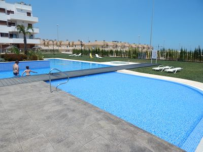 Photo for Heated Jacuuzi, 2 Pools, Sea Views, free Wi-Fi Cabo Roig