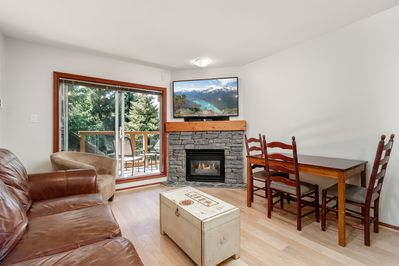 Cozy living room with new basalt fireplace and hardwood floors