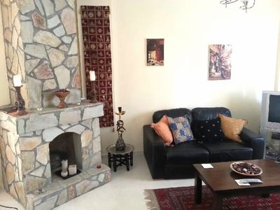 Homely lounge with comfy leather sofas