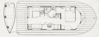 Cabin and deck layout. Note convertable settee. Sleeps 5.