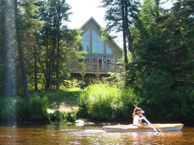 Photo for Riverfront, Secluded, Spacious outdoor area, w hot tub/canoe, kayak/ Well located