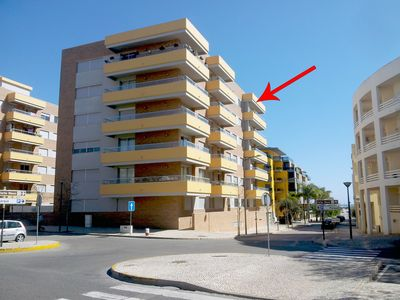 Photo for 3 Bedroom, Top Floor Apartment: Sea View, Large Balcony, AC, Wifi, Pool, Garage