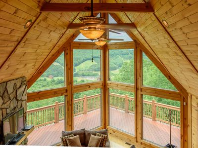 Photo for 5BR Cabin, Views, Hot Tub, Fishing Pond, Pool Table, A/C, Gated Community,12 Miles to Boone