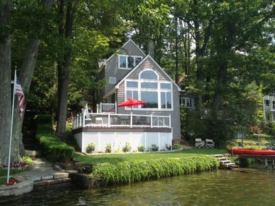 Photo for Elegant private waterfront home with peaceful sunset view from deck and dock