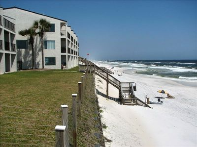 View of West End of Unit (Next to Palm Trees); CLOSEST TO BEACH - Not kidding!!