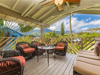 Photo for Walk to Hanalei Beaches, Spectacular Mountain and Waterfall Views