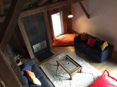Photo for Apartment panoramic view Mont Blanc in renovated farm near the slopes