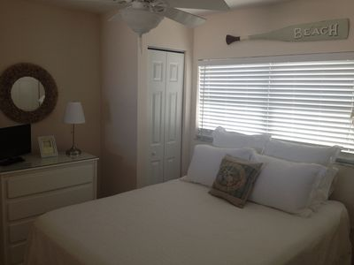 Pillow top queen size bed (very comfortable), his/hers closets