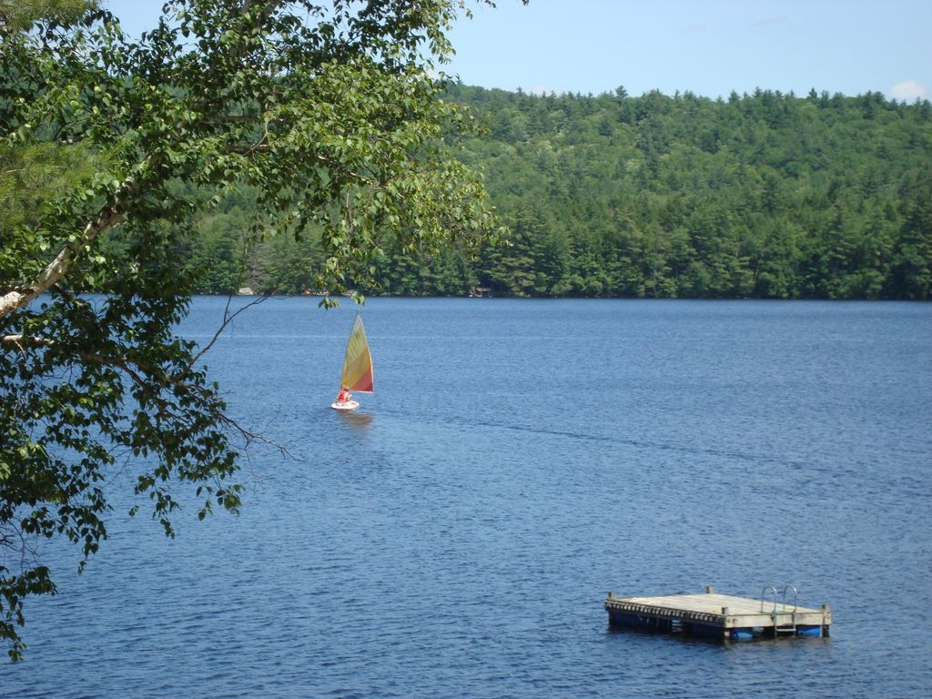 Quiet lakefront home with private beach near bridgton me for Private fishing ponds near me