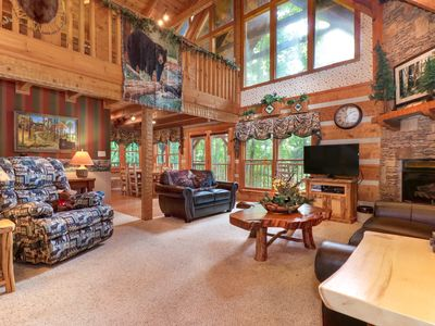 Photo for Log cabin hideaway with private hot tub, close to national park!