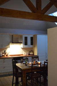 Squirrels Drey Kitchen/diner with vaulted ceiling