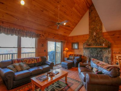 Photo for Charming Log Cabin on Beech Mtn with Big Views, Hot Tub, Game Table, Fireplace, 2 miles to Slopes