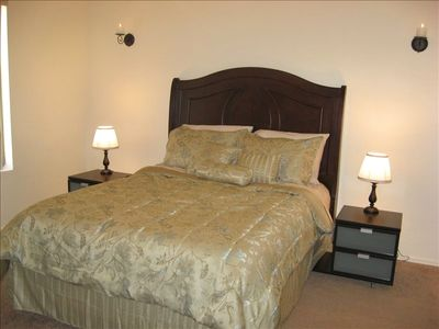 Master bedroom with Queen and private bathroom with walk-in closet.