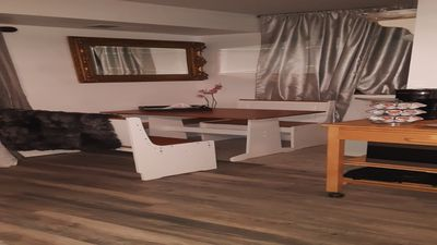 Dining area with sink