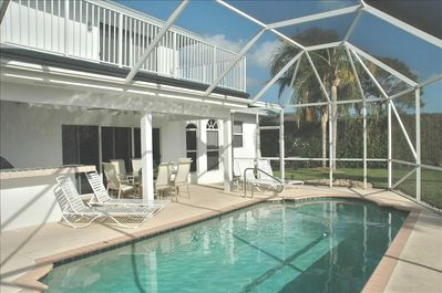 Completely private and screened, heated pool