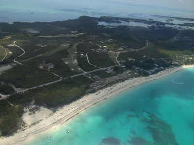 The Beach Villas are to the right along the beach, and Beach Club is to the left