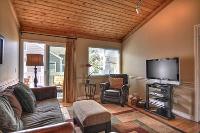 Beautiful family room with vaulted ceilings