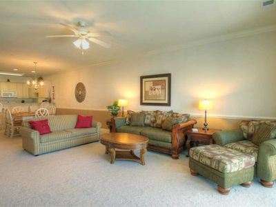 Photo for Beautiful lake view condo offers outdoor pool, wifi, & washer/dryer!