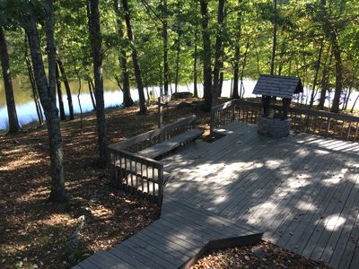 Large 2 level deck with a built in bench I also provide picnic table and chairs
