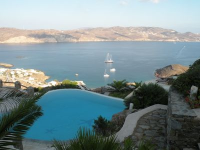 Photo for Nice Villa Elixir Mykonos, 3 Bedrooms, 3 Bathrooms, Up to 6 Guests, overlooks Panormos bay and the endless blue of the Aegean