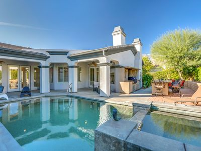 Photo for Ultra-seclude 3BR Saltwater Pool Oasis w/ outdoor BBQ -Central Palm Springs