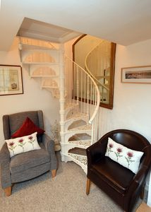 Lounge with spiral staircase