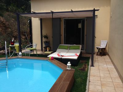 Photo for Charming little studio in Grimaud with private pool
