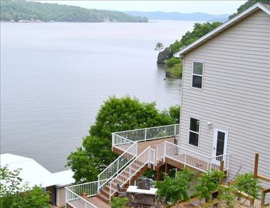 Side view of home and part of dock showing lot and waterfront location