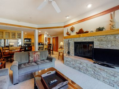 Photo for Ground-floor suite w/mountain views, shared pool & hot tub - next to ski lifts!