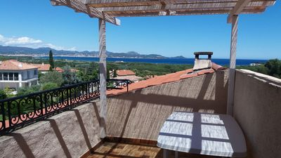 Photo for T3 for 5 people, sea view terrace, swimming pool, 15 minutes walk to the sea (Villa Lantorine)