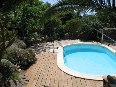 Photo for Rez of garden of villa air-conditioned facing gulf of Ajaccio Porticcio private swimming pool.