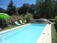 Much larger than it looks in the photos. Brilliant pool with sun/wind shade.