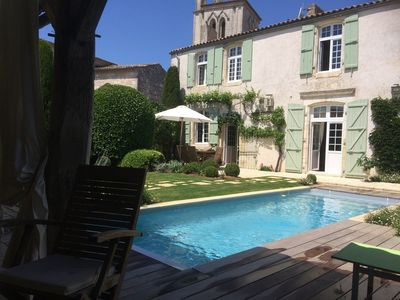 Photo for 18th C Vicarage 4**** Heated pool - Walk to beach- market - shops for 12 pers
