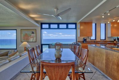 Dine in style with seemingly endless water views.