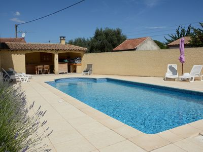 Photo for Winegrowers House with Pool in Languedocienne Village surrounded by vineyards