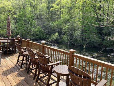 The back porch overlooks the Cheoah River