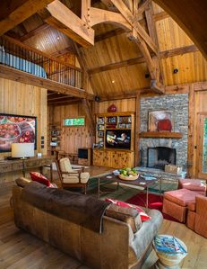 Another View of Great Room -- Love the Timber Frame