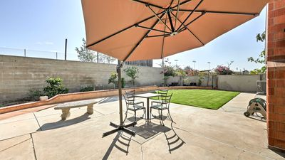 The property offers a a great backyard and patio for up to 10 guests to enjoy.