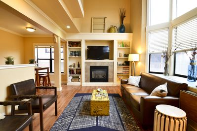 Spacious and cozy living area with fireplace
