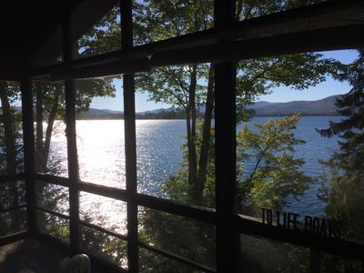 Lake George private waterfront property with beautiful sunset views.